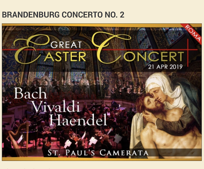 "Bach: Brandenburg Concerto No. 2 in F major, BWV 1047, Concerto for Oboe and Violin in D minor - Vivaldi: Concerto in D major ""Il Gardellino"" - Handel: Concerto for Organ and Orchestra in B flat"
