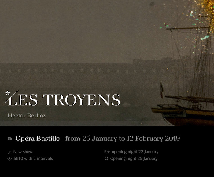 Opera in five acts and nine parts (1863)  After Virgil's Aeneid - Conductor: Philippe Jordan - Director: Dmitri Tcherniakov