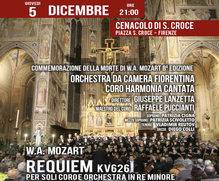 In commemoration of the death of W.A.Mozart, 8th edition - Orchestra da Camera Fiorentina, Choir Harmonia Cantata, Director M. Giuseppe Lanzetta