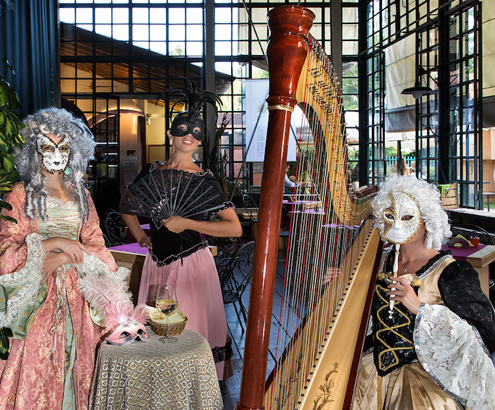 Sopran, Harp & Dancer in XVIII Century Costumes. Venue: