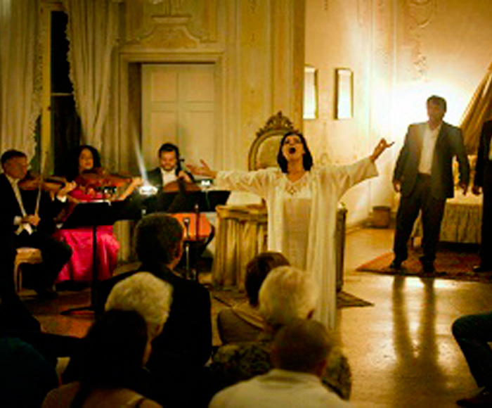 The complete Opera in three acts performed in three different rooms of the Palazzo for string trio, piano and singers.